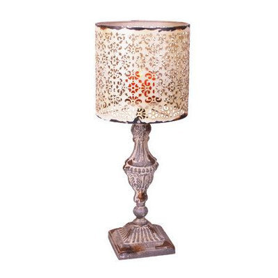 Taizhou Xinan Artware Co. Ltd YK Decor Metal Vintage Table Candle Holder Candle Lamp, Beige White