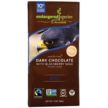 Endangered Species Chocolate Natural 60% Dark Chocolate Bar Blackberry Sage 3 oz - Vegan