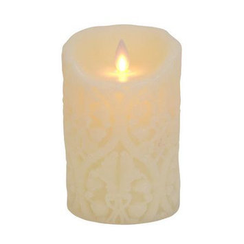 Boston Warehouse Trading Corp MYSTIQUE 14137 MYSTIQUE FLAMELESS CANDLE 5 in. IVORY DAMASK Pack of - 2