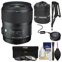 Sigma 35mm f/1.4 Art DG HSM Lens (for Nikon Cameras) with USB Dock + 3 UV/CPL/ND8 Filters + Sling Strap + Pouch + Kit