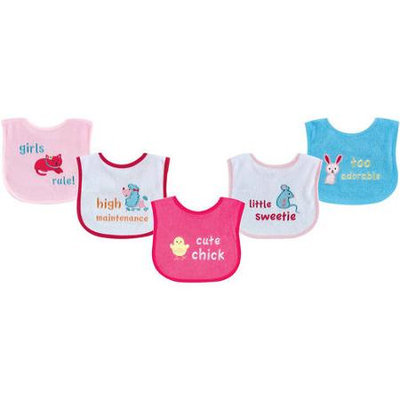 Baby Vision Luvable Friends 5 Pack Fun Sayings Bibs with PEVA Backing - Pink