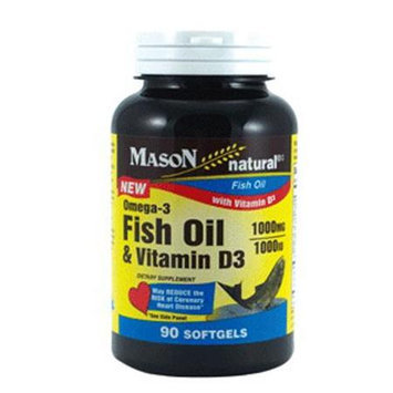 Mason Natural, Omega-3 Fish Oil 1000 mg & Vitamin D3 1000 IU, 90 Softgels