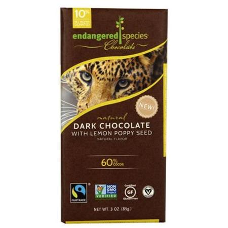 Endangered Species Chocolate Natural 60% Dark Chocolate Bar Lemon Poppy Seed 3 oz - Vegan