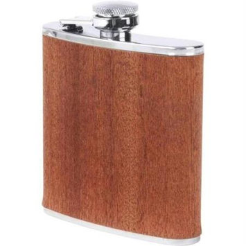 Bnf Maxam 6oz Stainless Steel Flask with Real Sapele Wood Wrap