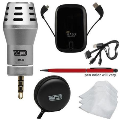 Vidpro XM-C Omni-Directional Condenser Microphone for Apple iPhone iPad and iPod Touch with Case + Portable Power Pack + Touch Screen Pen + 3 Microfiber Cleaning Cloths + Kit