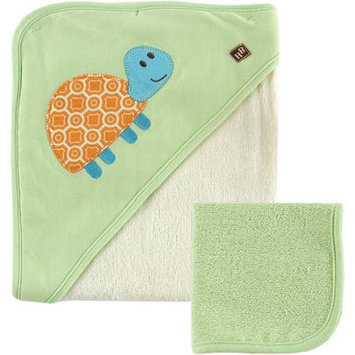 Baby Vision Hudson Baby Bamboo Hooded Bath Towel and Washcloth, Green Turtle
