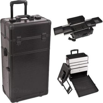 Just Case Sunrise I3163CRAB Black Crocodile Trolley Makeup Case