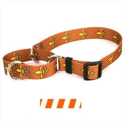 Yellow Dog Design M-TSOW102M Team Spirit Orange and White Martingale Collar - Medium