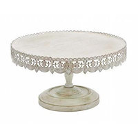 Woodland 50481 Strong and Stylish Cake Stand in Metal with Soft White Polish