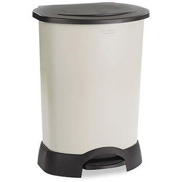 Rubbermaid Commercial Step-On Container, Oval, Stainless Steel, 23 gal, Black