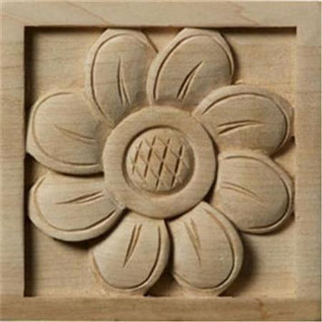 Ekena Millwork Medium Sunflower Square Wood Rosette ROS03X03X01SFCH