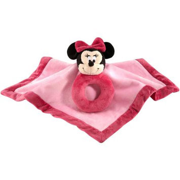 Crown Craft Disney Baby - Minnie Mouse Security Blanket with Ring Rattle