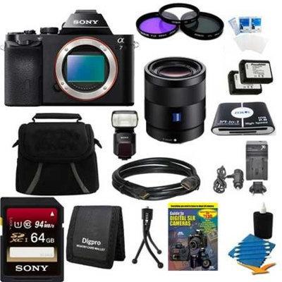 Sony Alpha 7 a7 Digital Camera, 55mm Lens, 64GB Card, 2 Batteries, Flash Bundle
