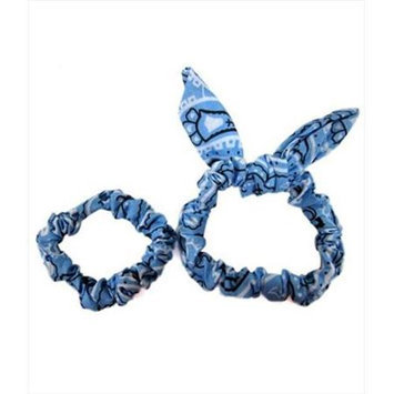 Coveryouhair CoverYourHair 61303 Set Of Two Paisley Scrunchies Light Blue