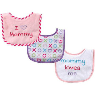 Baby Vision Luvable Friends 3 Count I Love Mommy Baby Bibs - Pink