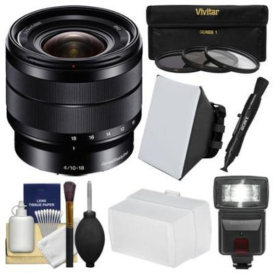 Sony Alpha E-Mount 10-18mm f/4.0 OSS Wide-angle Zoom Lens with Flash + Soft Box + Bounce Diffuser + 3 UV/CPL/ND8 Filters + Kit
