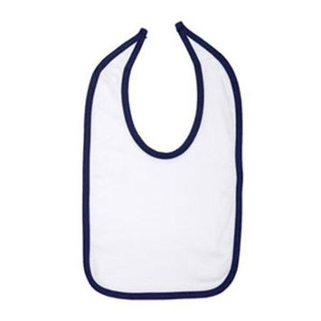 Rabbit Skins 1004 Infant Jersey Contrast Trim Closure Bib White and Navy One Size