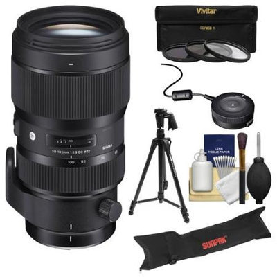 Sigma 50-100mm f/1.8 Art DC HSM Zoom Lens (for Nikon Cameras) with USB Dock + Tripod + Case + 3 UV/CPL/ND8 Filters + Kit