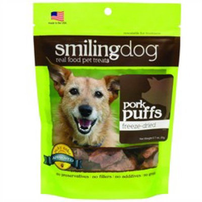 Herbsmith Smiling Dog Freeze Dried Pork Puffs Dog Treats 2.5 oz.