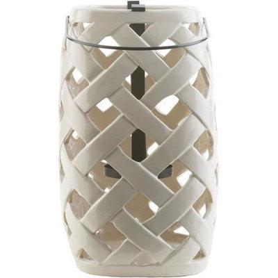 Surya Galilee Ceramic Lantern, Ivory, 7.1 H x 5.1 W x 5.1 D