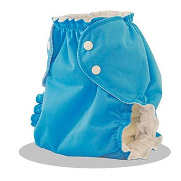 Applecheeks Cloth Diaper Cover - Breathable, Waterproof Cover Sewn to a Soft Microfleece Inner Layer in Bright Blue (St. Lucia) By A