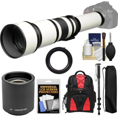 Vivitar 650-1300mm f/8-16 Telephoto Lens (White) (T Mount) with 2x Teleconverter (=2600mm) + Monopod + Backpack + Kit