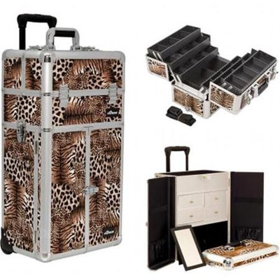 Sunrise Books Sunrise Outdoor Travel Leopard Trolley Makeup Case - I3465