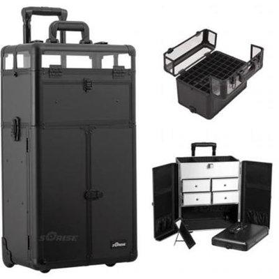 Sunrise Books Sunrise Outdoor Travel Professional Cosmetic Holder Black Smooth Trolley Makeup Case -I31065