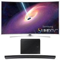 Samsung - Bundle UN65JS9500 - 65-Inch Curved 4K 120hz SUHD 3D LED TV w/ HW-J6000 Soundbar Bundle - E2SAMUN65JS9500