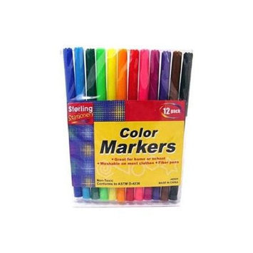 Bulk Buys 12-Pack Rainbow Color Markers(Case of 24)