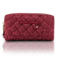 Jacki Design ABC15016RD Bella Donna Cosmetic Bag with Double Zipper Red