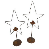 Craft Outlet 2 Piece Tin Metal Star Candle Holder Set