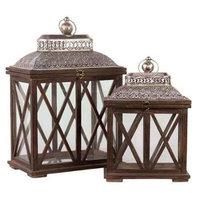 Urban Trends 2 Piece Wood Lantern Set, Brown