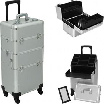 Hiker HK6501PPSL Silver Smooth Pattern 4-Wheels Professional Rolling Aluminum Cosmetic Makeup Case