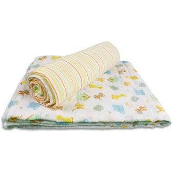 SpaSilk 100% Cotton 2 Pack Muslin Swaddle Blankets - Blue Elephant