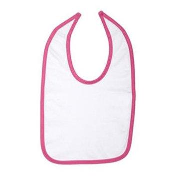Rabbit Skins 1004 Infant Jersey Contrast Trim Closure Bib White and Raspberry One Size