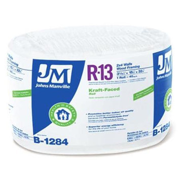 Johns Manville R13 15-in x 32-ft Faced Fiberglass Roll Insulation with Sound Barrier B1284