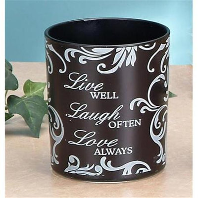 Unison Gifts MSA-710 4 In. Frosted Glass Candleholder - Live Laugh Love Black
