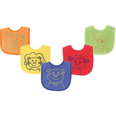 Baby Vision Luvable Friends 5 Pack Bright Animal Bibs - Blue