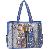 Laurel Burch LB4901 Shoulder Tote Zipper Top 21 in. X6.50 in. X15 in. -Autumn Felines