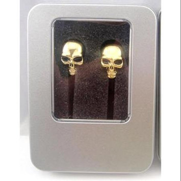 Crystal Case Gothic Metal Gold Chrome Skull Ear Bud Earbuds Earphone