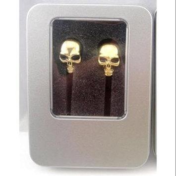 Crystal Case Gothic Metal Gold Chrome Skull Ear Bud Earbuds Earphone