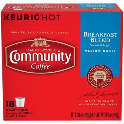 Community Coffee for Keurig(R) K-Cup(R) Brewers - Breakfast Blend - 18ct Box