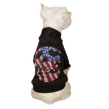 Pet Edge Dealer Services ZandZ Americas Pup Skull Dog Hoodie Xsmall