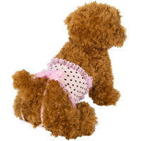 Cue Cue Pet Frilly Pink Polka Dot Sanitary Underwear for Female Dogs (Medium)