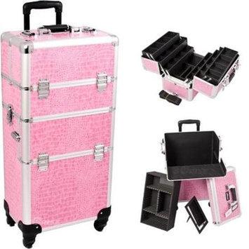 Just Case Sunrise I3461CRPK Pink Crocodile Trolley Makeup Case