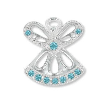 D.m. Merchandising MARCH AQUAMARINE Birthstone Wings & Wishes Angel Tac Pin