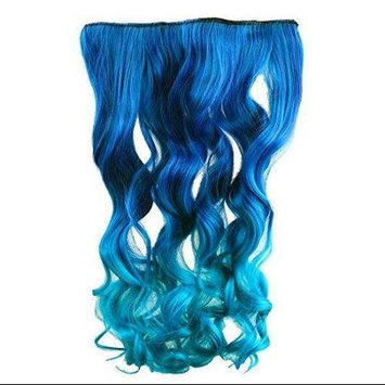 AGPtek 26 Inch Neon Tangle Curly Rainbow Hair Extension Ponytail, Dark Blue to Royal Blue