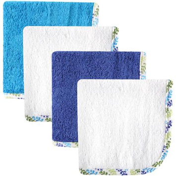 Baby Vision Hudson Baby 4 Pack Boy Print Woven Washcloths - White