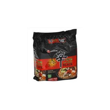 Nong Shim Noodle Soup, Premium, Shin Ramyun Black, Family Pack, 4.58 Oz, Pack Of 4